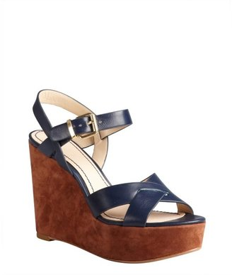 Pour La Victoire navy and cognac leather and suede 'Lysa' wedge sandals