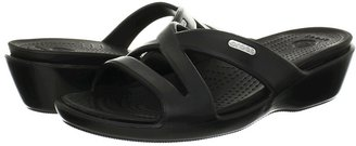 Crocs Patricia II Patent Wedge (Black/Black) - Footwear