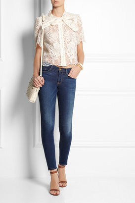 Anna Sui Embroidered organza blouse