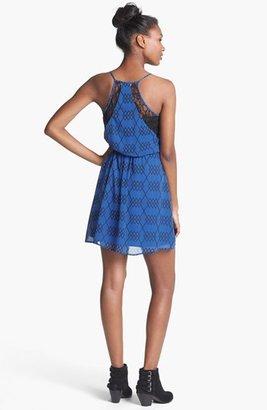 Lush Lace Inset Print Racerback Dress (Juniors)