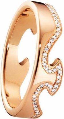 Georg Jensen 18ct Rose Gold Fusion End Diamond Set Ring - Ring Size M.5