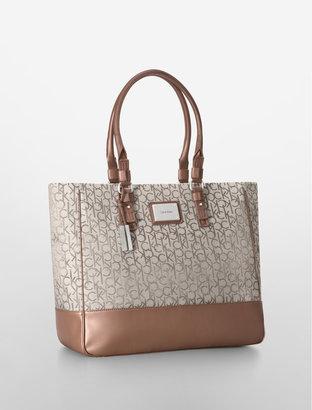 Calvin Klein Logo Jacquard City Shopper Tote Bag
