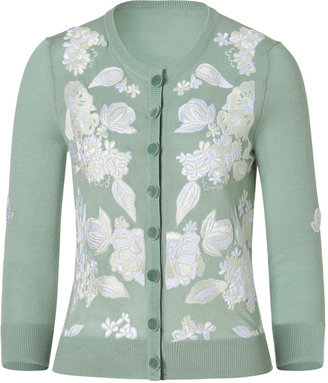 L'Wren Scott LWren Scott Water and Cream Thread Embroidered Cardigan