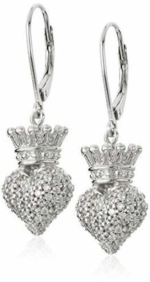King Baby Studio Women's Small 3D Crowned Heart Lever Back Earrings Sterling Silver Drop Earrings $190 thestylecure.com