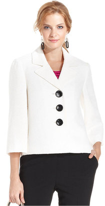 Kasper Three-Button Textured Swing Blazer