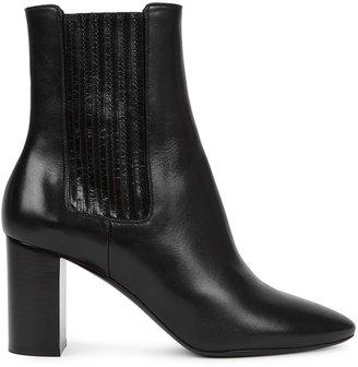 Saint Laurent Mica 75 Black Leather Ankle Boots