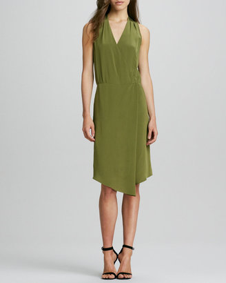 Tibi Sleeveless V-Neck Draped Faux-Wrap Dress
