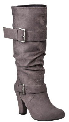 Xhilaration Women's Kainda Faux Suede Slouchy Heeled Boots - Grey