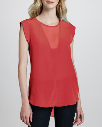 Rebecca Taylor Sheer-Inset Silk Top