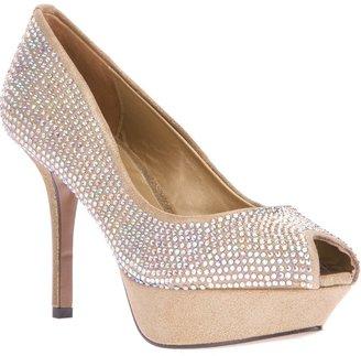 Lola Cruz embellished peep toe pump