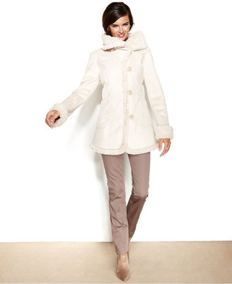 Jones New York Coat, Faux-Shearling Walker