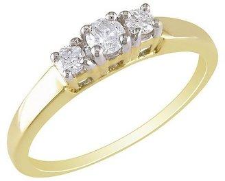 Diamond 14K Yellow Gold 3 Stone Ring Gold