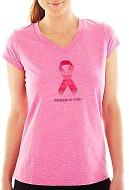 JCPenney XersionTM Breast Cancer Awareness V-Neck Tee