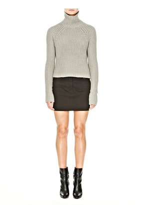 Alexander Wang Stretch Cotton Twill Jean Skirt With Leather Yoke