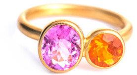 Marie Helene De Taillac Marie-Hélène De Taillac Fire opal & pink tourmaline ring