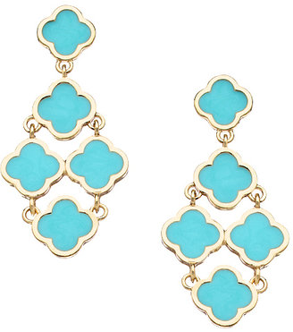 Blu Bijoux Gold and Turquoise Enamel Clover Chandelier Earrings