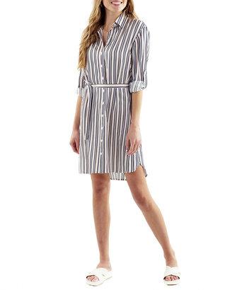 Finley Carter Lounge Belted Striped Shirtdress
