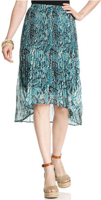 Style&Co. Skirt, Snakeskin-Print Pleated High-Low