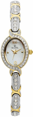 Bulova Women's Crystal Two-Tone Bangle Bracelet Watch 17mm 98L005 $299 thestylecure.com