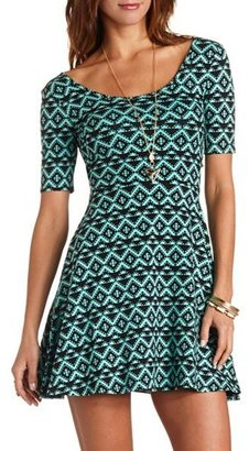 Charlotte Russe Back Cut-Out Tribal Print Skater Dress