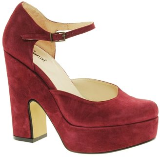Ganni Bambi Suede Platform 70's Shoes - Red