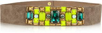 Matthew Williamson Crystal-embellished suede belt