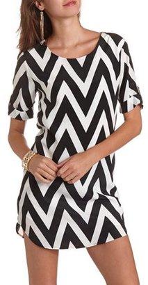 Charlotte Russe 3/4 Sleeve Chevron Shift Dress
