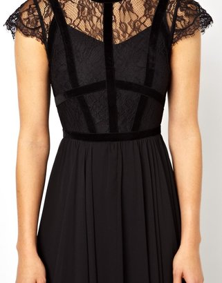 Asos Exclusive Maxi Dress With Lace Top And Velvet Contrast