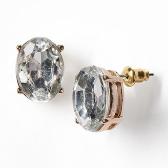 Vera Wang Simply vera gold tone simulated crystal oval button stud earrings