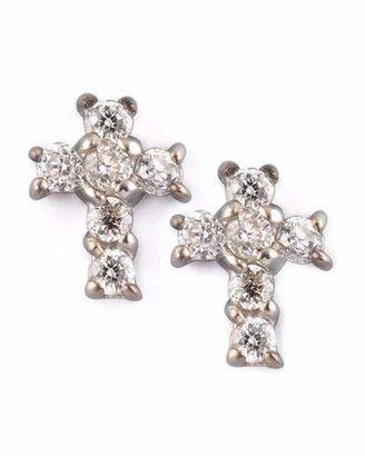 KC Designs Diamond Cross Earrings, White Gold