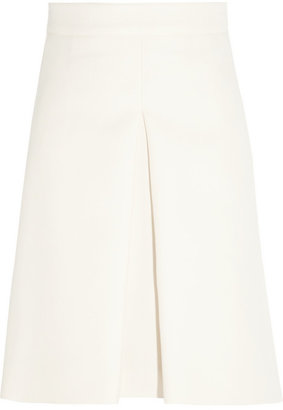 Valentino Pleat-front wool and silk-blend skirt