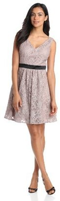 Adrianna Papell Women's V-Neck Lace Dress