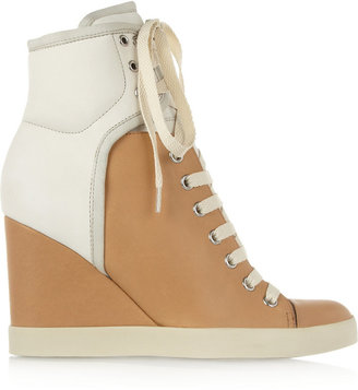 See by Chloe Two-tone leather and nubuck wedge sneakers