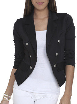 Wet Seal WetSeal Ruched Double Breasted Blazer Black