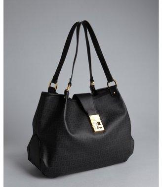 Fendi black zucchino spalmati 'Forever' shoulder bag