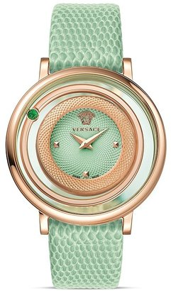 Versace Venus Rose Gold PVD Watch with Light Green Guilloche Dial, 39mm $1,495 thestylecure.com