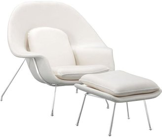 ZUO Nursery White Arm Chair with Ottoman