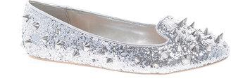 Carvela Lolita Silver Studded Glitter Slipper Shoes
