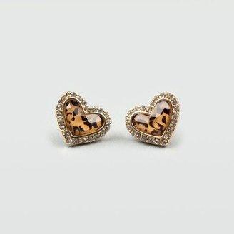 Full Tilt Rhinestone Cheetah Heart Earrings