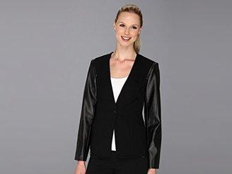 Vince Camuto Women's Pleather Sleeve Jacket