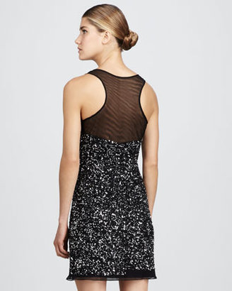 Aidan Mattox Beaded Illusion-Neck Dress
