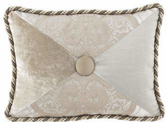"""Dian Austin Couture Home Pure Pewter Pieced Pillow with Button Center, 12"""" x 16"""""""