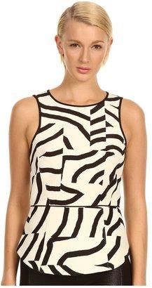 Tibi Zebra Maze Print On Silk Wool S/L Top Women' Sleevele