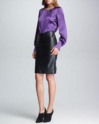 Armani Collezioni Pocketed Leather Pencil Skirt, Black