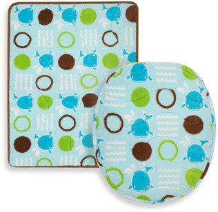 Bed Bath & Beyond Aquatopia™ Whale Blue Memory Foam Bath Mat and Lid Cover Set