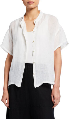 Eileen Fisher Petite Organic Linen Gauze Button-Front Shirt