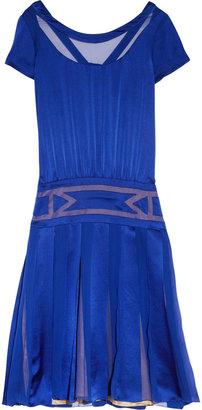 Alberta Ferretti Pleated silk-satin dress