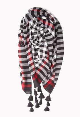 Forever 21 rustic gingham tassel scarf