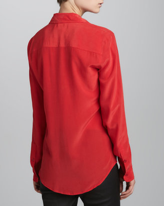Equipment Brett Vintage Wash One-Pocket Blouse, Bright Red
