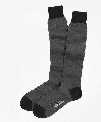 Brooks Brothers Cotton Bird's-Eye Over-the-Calf Socks